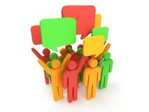 Group of stylized colored people with chat bubbles Stock Photography