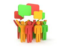 Group of stylized colored people with chat bubbles Stock Image