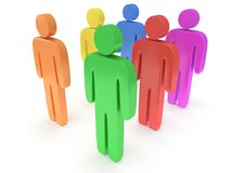 Group of stylized colored people stand on white Stock Photography