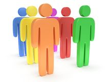 Group of stylized colored people stand on white Royalty Free Stock Image