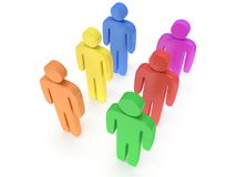 Group of stylized colored people stand on white Royalty Free Stock Photography
