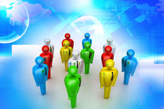Group of stylized coloured people Royalty Free Stock Image