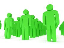 Group of stylized green people stand on white Royalty Free Stock Photos