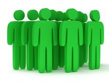 Group of stylized green people stand on white Royalty Free Stock Photo