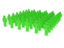 Group of stylized green people stand on white Royalty Free Stock Image