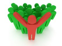 Group of stylized green people with teamleader. Group of stylized green people and red teamleader with hands up stand on white.  3d render icon. Teamwork Stock Photography