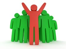 Group of stylized green people with teamleader. Group of stylized green people and red teamleader with hands up stand on white.  3d render icon. Teamwork Royalty Free Stock Image