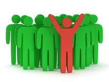 Group of stylized green people with teamleader. Group of stylized green people and red teamleader with hands up stand on white.  3d render icon. Teamwork Stock Images