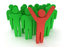 Group of stylized green people with teamleader. Group of stylized green people and red teamleader with hands up stand on white.  3d render icon. Teamwork Royalty Free Stock Photo