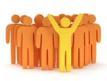 Group of stylized orange people with teamleader. Group of stylized orange people and yellow teamleader with hands up stand on white. Isolated 3d render icon Stock Images