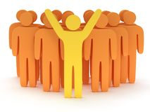 Group of stylized orange people with teamleader. Group of stylized orange people and yellow teamleader with hands up stand on white. Isolated 3d render icon Stock Image