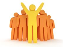 Group of stylized orange people with teamleader. Group of stylized orange people and yellow teamleader with hands up stand on white. Isolated 3d render icon Royalty Free Stock Photography