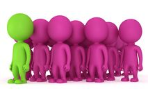 Group of stylized people stand on white Royalty Free Stock Images