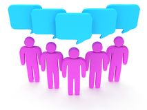 Group of stylized pink people with chat bubbles. Wedge group of stylized pink people with chat bubbles stand on white. Isolated 3d render icon. Teamwork Stock Photo