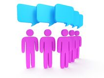 Group of stylized pink people with chat bubbles Royalty Free Stock Images