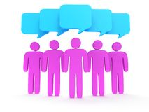 Group of stylized pink people with chat bubbles. Wedge group of stylized pink people with chat bubbles stand on white. Isolated 3d render icon. Teamwork Stock Image