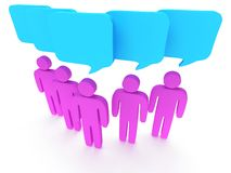 Group of stylized pink people with chat bubbles Royalty Free Stock Photo
