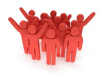 Group of stylized red people stand on white Stock Photography