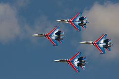 Group su-27 performing aerobatics at an airshow Royalty Free Stock Photos