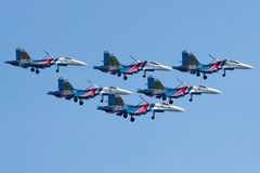 Group su-27 performing aerobatics at an airshow Stock Images