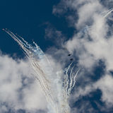 Group su-27 performing aerobatics at an airshow. Samara, Russia - August 22. 2015: Demonstration performances of flight group Falcons of Russia on Su-27. Airshow Stock Photo