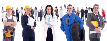 Group of successes people. Group of industrial workers,workers physician and bussines people stock photography