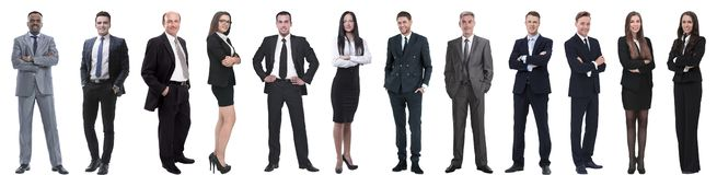 Group of successful business people isolated on white stock image