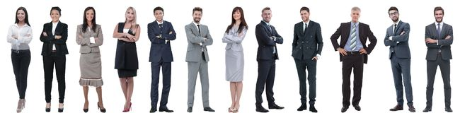 Group of successful business people isolated on white. Background royalty free stock photo