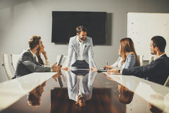 Group of successful business people at meeting in office Stock Image