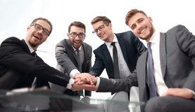 Group of successful business people showing their unity royalty free stock image