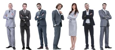 Group of successful business people standing in a row. Isolated on white stock photos