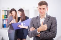 A group of successful businessmen. Discussion of the important c Stock Image