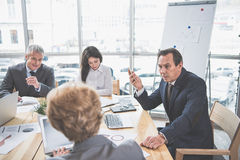 Group of successful people at briefing royalty free stock photo