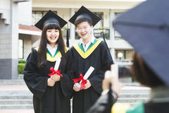 Group of successful students on their graduation Stock Image