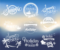Group of Summer Labels on Blurred Background Royalty Free Stock Images