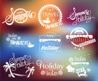 Group of Summer Labels on Blurred Background Royalty Free Stock Photos