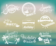 Group of Summer Labels on Gradient Background Stock Photo