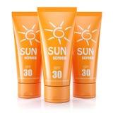 Group of sunblock creams. 3d render royalty free illustration