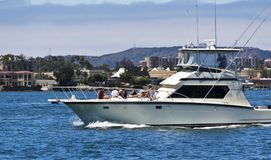 A Group Sunning on a Charter Boat in San Diego Bay Stock Images