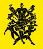 Group of Super Heroes action, Unity together team work graphic vector vector illustration