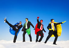 Group of Superhero on the Snow stock photography