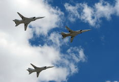 Group of supersonic long-range strategic bombers Tu-22M3 Royalty Free Stock Photo