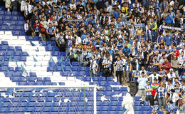 Group of supporters of Espanyol. Leave empty seats during a Spanish League match against FC Barcelona at the Estadi Cornella on April 25, 2015 in Barcelona Stock Photography