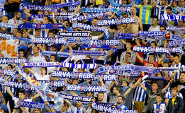 Group of supporters of Espanyol Royalty Free Stock Photography