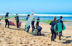 Group of surfers beach surfing Royalty Free Stock Images