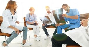 Group of surgeons and medical professional staff discussing on p royalty free stock image