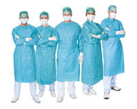 Group of surgeons over white Royalty Free Stock Images