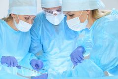 Group of surgeons at work while operating at hospital. Health care and veterinary concept Stock Photo