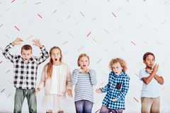 Group of surprised kids royalty free stock photos