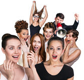 Group of surprised people Stock Photo